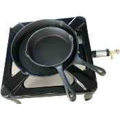 Cast Iron Burner / Boiling Ring With Large and Medium Cast Iron Frying Pan Set