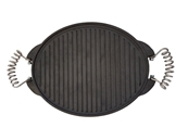 LARGE REVERSIBLE OVAL CAST IRON GRIDDLE WITH NUT AND WASHER
